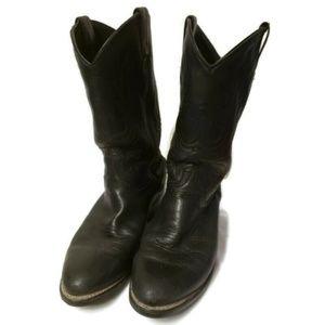 Black Western Men's Leather Boots Vibram Sz 9EE